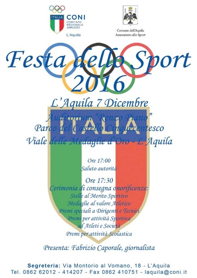 Festa dello Sport, all'Aquila premiati 2 Sulmonesi